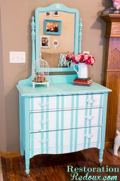 Give an old dresser new life - wouldn't this turquoise and white stripe painted look be be perfect for a little girl's room?  We paint walls AND furniture in Bellingham WA - http://www.northpinepainting.com