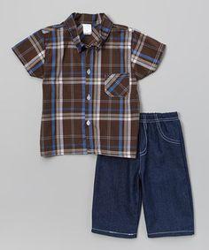 Loving this Brown Plaid Button-Up & Denim Shorts - Infant on #zulily! #zulilyfinds
