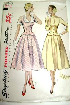 Simplicity 3624 (1940s/50s) Suit/Dress Pattern, Skirt and Peplum Blouse