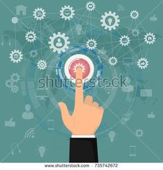 Human hand pressing Application button icons business. business and network technology with press start button. Business Start up concept vector illustration.