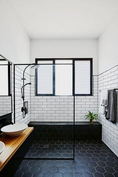 35 best farmhouse master bathroom remodel ideas 2 « Home Decoration Modern Bathroom Tile, Bathroom Layout, Bathroom Interior Design, Bathroom Black, Minimalist Bathroom, Bathroom Designs, Marble Bathrooms, Boho Bathroom, Scandinavian Bathroom Design Ideas