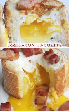 Egg Bacon Baguette Breakfast Recipe via Eugenie Kitchen. The bacon is only an optional topping, but dang this looks good!