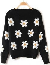 To find out about the Black Long Sleeve Sunflower Pattern Knit Sweater at SHEIN, part of our latest Sweaters ready to shop online today! Street Look, Street Chic, Winter Trends, Pull Gris, Baggy, Sweater And Shorts, Jumper Shirt, Loose Sweater, Crop Shirt