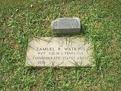"""Samuel Rush """"Sam"""" Watkins - Civil War Confederate Soldier, Historian. He served as a Private in Company H, 1st Tennessee Infantry, CSA, during the Civil War, fighting in most of the large battles of the Western Theater. He was famous as the author of """"Co. Aytch,"""" his memoirs published in 1882. This book has become one of the most popular of Confederate soldier reminiscences."""