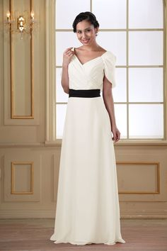#85175 - Floor-Length Surplice Chiffon Dress with Contrast Sash