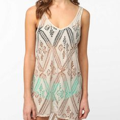 Crochet tank dress-cute bathing suit cover up for the beach or for day throw a pretty little slip underneath !