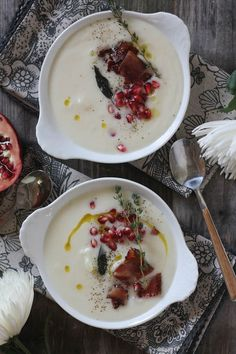 #paleo #paleomg Truffle Cauliflower Soup with Bacon, Brown Butter Crispy Sage and Pomegranates