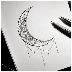 Resultado de imagem para moon mandala tattoo