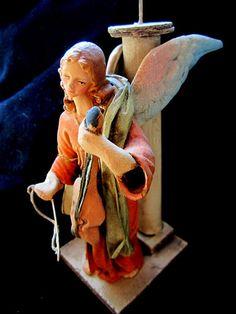 SOLD -- Vintage Cartapesta Angel Candle Stick by JewelsOfHighElegance, $50.00