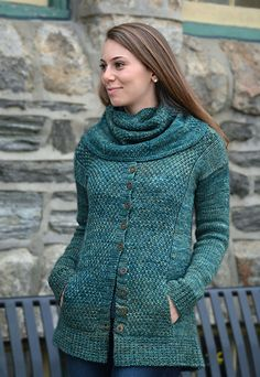 Gloucester Road Cardigan and Cowl by Nancy Eiseman Bottom up knit in Aran 10ply ~ Cardigan and Cowl sold as one pattern.
