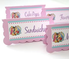 Disney Princess Birthday Party - Food Label Table Tents - Set of 6. $10.00, via Etsy.