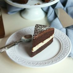 Chocolate Génoise cake filled with a generous layer of vanilla pastry ...