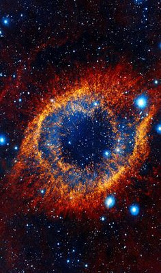 This object, called the Helix nebula, lies 650 light-years away in the constellation of Aquarius. Also known by the catalog number NGC 7293, it is a typical example of a class of objects called planetary nebulae. Discovered in the 18th century, these cosmic works of art were erroneously named for their resemblance to gas-giant planets.