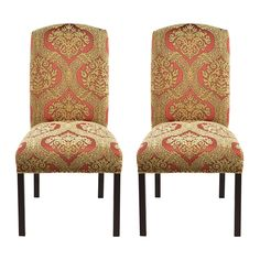 Add definition and chic style to the dining room with these upholstered, nail backed dining chairs that both look and feel comfortable. These camel back chairs come in a set of two.