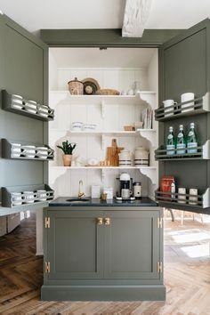 Armac Martin Brass Hardware Cabinetry, Old Houses, Home, Kitchen Design, Coffee Bar, Interior, New Kitchen, Kitchen, Terrazzo Flooring