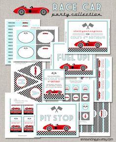 Printable Race Car Birthday Collection - DIY. $40.00, via Etsy.