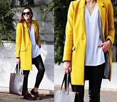 ZARA NEW MUSTARD YELLOW MASCULINE LAPEL COLLAR ONE BUTTON WOOL COAT SIZE xs in Clothes, Shoes & Accessories, Women's Clothing, Coats & Jackets | eBay