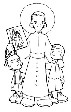 St. John Bosco Catholic Coloring Page.  Feast day is January 31st.