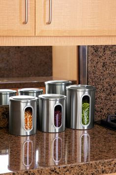 To keep the dried lentils, beans, quinoa, flour, and other ingredients Peter Walsh uses for healthy meals readily available, he stores them in a set of stainless steel canisters (Organize.com). This way he always knows what he has—and friends can easily pitch in with the cooking.