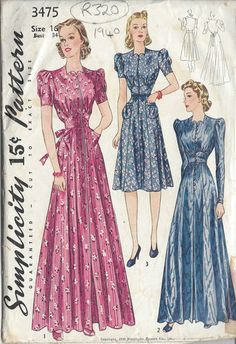 Simplicity 3475 - 1940 Vintage Sewing Pattern HOUSECOAT & DRESS
