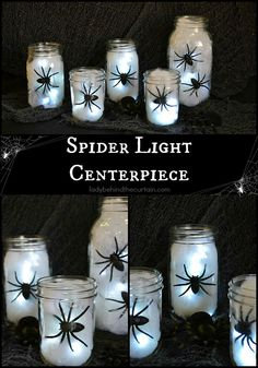 Halloween Spider Light Centerpiece |  You only need 4 items to build this fun and easy centerpiece!
