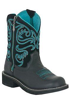 Ariat Fatbaby Ladies Black Zip Round Toe Western Boot