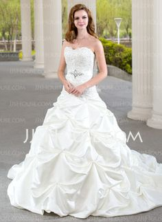Ball-Gown Sweetheart Chapel Train Satin Wedding Dress With Ruffle Lace Beadwork (002000432) - JJsHouse