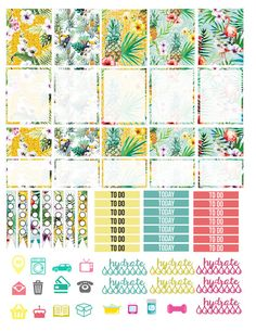 Printable Planner Stickers Tropical Summer by LaceAndLogos on Etsy