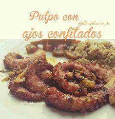 Pulpo con ajos confitados Mi Recipe, Great Recipes, Favorite Recipes, Spanish Food, Ceviche, Fish And Seafood, Salmon Recipes, Mexican Food Recipes, Tapas