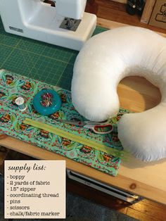 """DIY Boppy Cover - don't have to print a pattern (just trace around pillow and add 1.5"""" extra."""