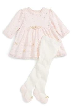Little Me Dress & Footed Tights Set (Baby Girls)