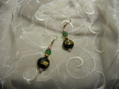 Pink Green Black and Gold Earrings by Alisonsjewelryshop on Etsy, $7.98