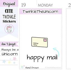 """cute unicorn happy mail planner stickers for your planners, organizers, calendars, bullet journals or whatever planner you love :-) All graphics are hand drawn and cannot be found anywhere else!  🎀 VARIATIONS Different variations of this series available: https://www.etsy.com/shop/twinkletheunicorn?search_query=mail  🎀 SPECS ° Size - Each sticker sheet is approximately 5.5x4.3 inches. This sheet cannot be customized. ° Sticker Size: .66"""" in Height (approx) ° Materia..."""