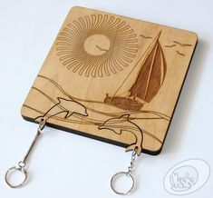 "Wall Key Holder, Wall Key Holder ""Sailboat"", Laser cut, Key Rack, Laser…"