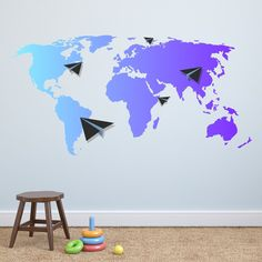 Amazon made in the usa removable wall decal map of the world amazon made in the usa removable wall decal map of the world kids nursery colored multicolored vinyl sticker animal map wall decal bedroom l gumiabroncs Images