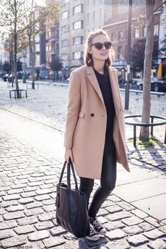 Tan coat, grey and black Long Coat Outfit, Camel Coat Outfit, New Fashion Clothes, Fashion Outfits, Women's Fashion, Cute Casual Outfits, Winter Outfits, Looks Style, My Style