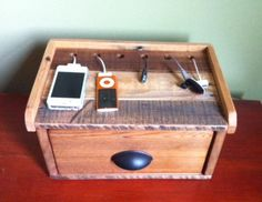 Recycled Pallet Charging Station by PicketCreations on Etsy