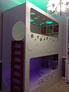 Modern Bunk Beds with color changing LED lighting