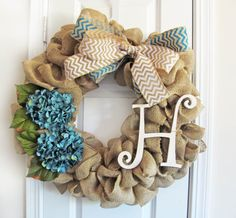 Teal Fall Burlap Wreath Front Door Wreath Front by WoodAndBurlap, $76.00