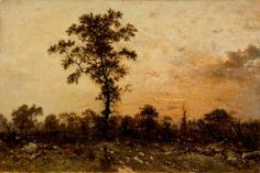 """""""Edge of the Forest, sun setting"""" (c. 1845 - 46) By Théodore Rousseau, from Paris (1812 - 1867) - oil on canvas; 41.28 x 62.87 cm; 16 1/4 x 24 3/4 in - © Los Angeles County Museum of Art, Los Angeles, California, US Purchased with funds provided by William Randolph Hearst Collection by exchange http://collections.lacma.org/ https://www.facebook.com/LACMA"""