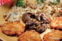 Tócsni csirkemájjal és tejszínes gombás raguval - Vidék Íze