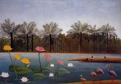 Henri Rousseau The Flamingos painting for sale - Henri Rousseau The Flamingos is handmade art reproduction; You can shop Henri Rousseau The Flamingos painting on canvas or frame. Scenery Paintings, Wildlife Paintings, Nature Paintings, Colorful Paintings, Oil Paintings, Henri Rousseau Paintings, Art Conceptual, Flamingo Painting, Post Impressionism