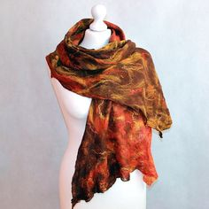 Cobweb Felted Scarf Felted Shawl Autumn Sunset brown by EsartFelt