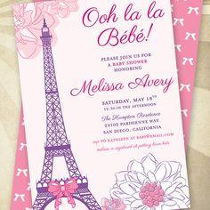 CUSTOM Paris Baby Shower  PRINTABLE Invitation