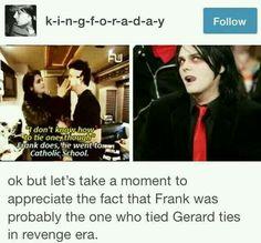 Gerard looks like a women doing her boyfriends makeup for Halloween