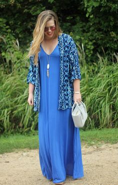 Summertime Blues: SheIn blue maxi dress, printed kimono, Kendra Scott Rayne necklace, Dagne Dover petite tote | Puppies & Pretties