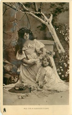 """Mother & daughter, """"All on a summer's day"""" postcard, 1908."""