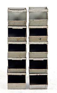 Stackable Steel Storage Bins | Lot 10 Stackable Bin Storage Vintage Antique  Metal Box Industrial Tool .