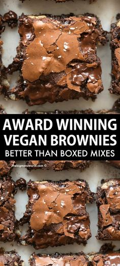 Vegan Brownies that are AWARD Winning! Loved by non-vegans too, they are fudgy, gooey and melt in your mouth! Easy and delicious, they require just one bowl and gluten-free too! Healthy Dessert Recipes, Vegan Desserts, Whole Food Recipes, Vegan Recipes, Cooking Recipes, Health Desserts, Cooking Tips, Vegan Treats, Vegan Foods