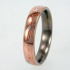 Mokume Gane Inlay in Titanium Ring - Wedding Band - His and/or Hers - Anniversary Ring. $197.00, via Etsy.
